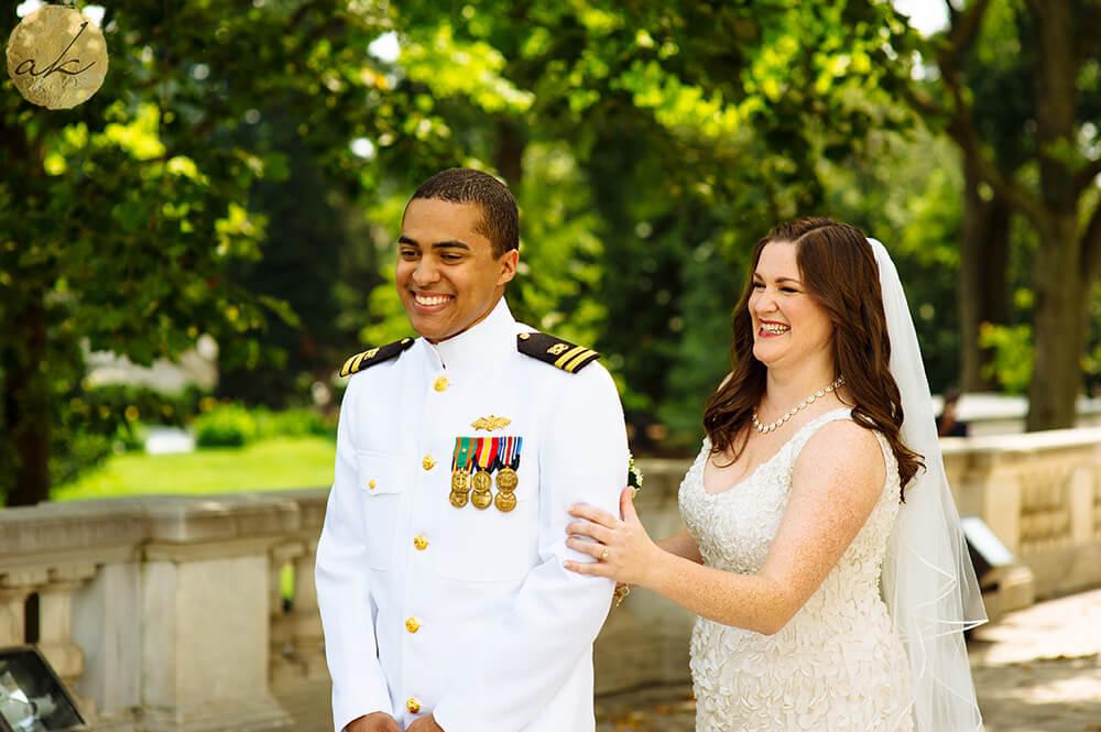 first look on DAR portico wedding photos 34